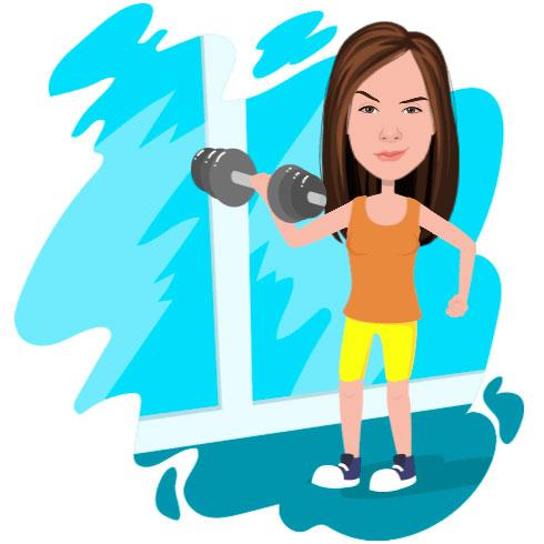 Тренировка, девушка тренируется.